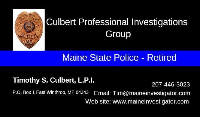 Business card private investigators in maine business card colourmoves